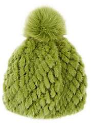 Barneys New York Women's Mink & Fox Fur Beanie - Green