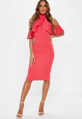Missguided Pink High Neck Frill Cold Shoulder Midi Dress