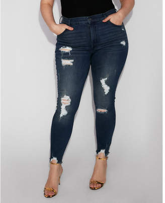 Express high waisted destroyed denim perfect stretch+ ankle leggings