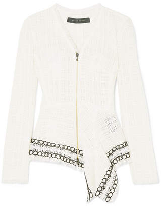 Roland Mouret Corded Lace-trimmed Frayed Cotton-tweed Peplum Jacket - White