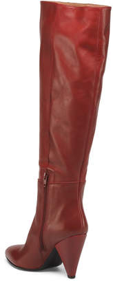 Made In Italy Leather Pointy Toe High Shaft Boots