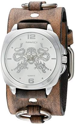 Nemesis 'Dragon King of Skulls' Quartz Stainless Steel and Leather Watch