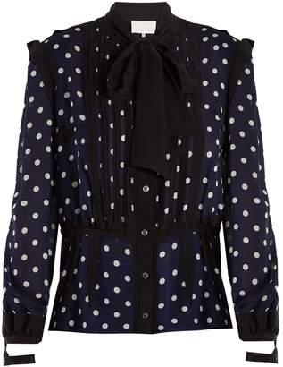 Maison Margiela Polka-dot print and jacquard-trimmed silk blouse