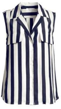 Frame True Sleeveless Stripe Silk Shirt