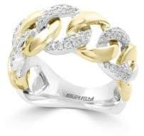 Effy Duo Diamond 14K White and Yellow Gold Studded Chain-Link Ring