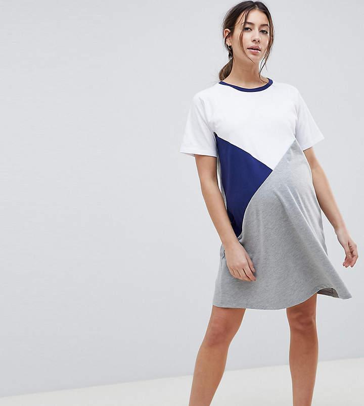 DESIGN Maternity – T-Shirt-Kleid in Blockfarben