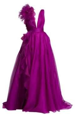 Marchesa Silk Organza Plunge Gown