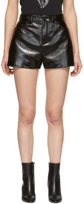 Saint Laurent Black Vinyl Shorts
