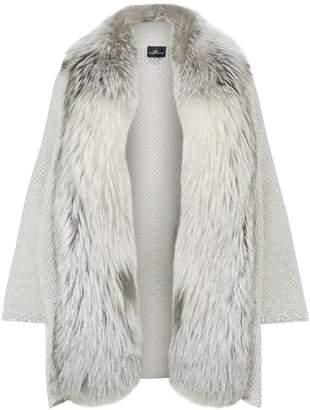 William Sharp Embellished Fur Trim Cardigan