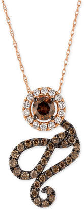 LeVian Le Vian Chocolatier Diamond Swirl Pendant Necklace (1 ct. t.w.) in 14k Rose Gold