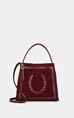 Fontana Milano Women's Lucky Small Suede Crossbody Bucket Bag - Violet
