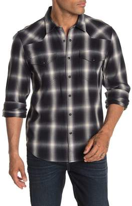 7 For All Mankind Western Plaid Flannel Trim Fit Shirt