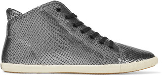 Marc by Marc Jacobs Metallic snake-effect leather sneakers $415 thestylecure.com