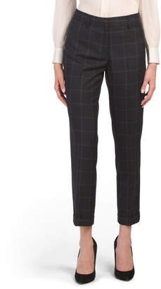 Window Pane Printed Fly Front Pants