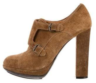 Lanvin Buckle Suede Booties