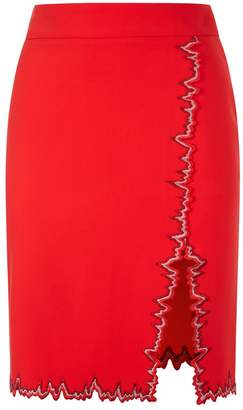 La Perla La Perla | Cocktail Rubine Red Silk Cady Pencil Skirt With Side Slit And Embroidery | Xxs | Red