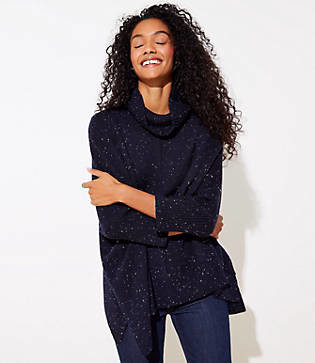 LOFT Flecked Turtleneck Poncho Sweater