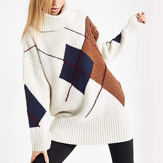 River Island Cream argyle roll neck knit sweater