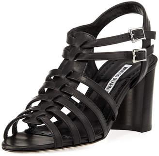 Manolo Blahnik Ticcia 70mm Leather Sandal w/ Buckles