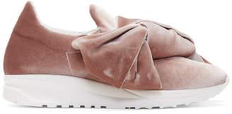 Joshua Sanders Pink Velvet Bow Slip-On Sneakers