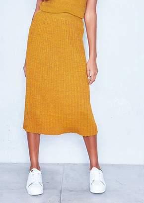 a538ad6b5b Missy Empire Missyempire Susi Mustard Sparkle Knit Pleated Midi Skirt