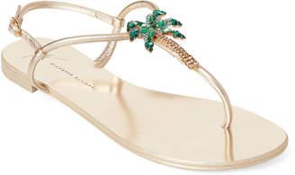 2edfc964f9a4 Giuseppe Zanotti Gold Embellished Palm Tree Flat Sandals