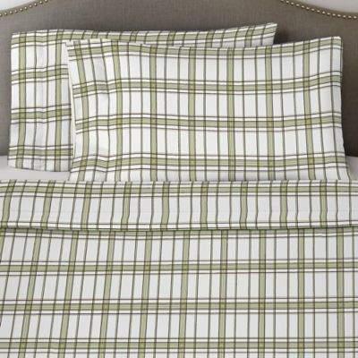 Bed Bath & Beyond Pointehaven 170 GSM Plaid Flannel Twin Sheet Set in Sage/White