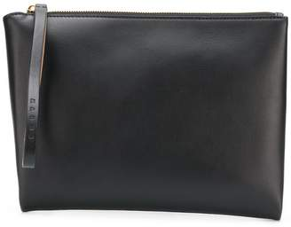 Marni Brown and black leather clutch with handle