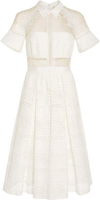 Self Portrait Lace-Paneled Cotton Dress $510 thestylecure.com