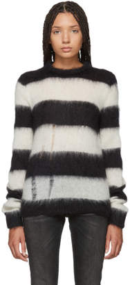 Saint Laurent Black and White Mohair Striped Sweater