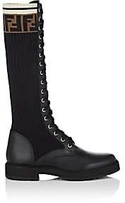 Fendi Women's Leather & Knit Combat Knee Boots-Black