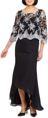 MAYA BROOKE Maya Brooke 3/4 Sleeve Embroidered Top High Low Evening Gown