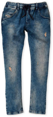 Diesel Boys 8-20) Drawstring Waist Washed Jeans