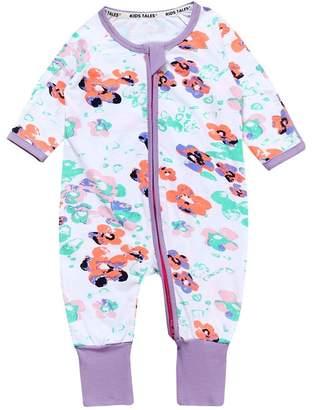 Kids Tales Baby girl Flowers Footed Handed Zipper Pajama Sleeper Cotton Romper