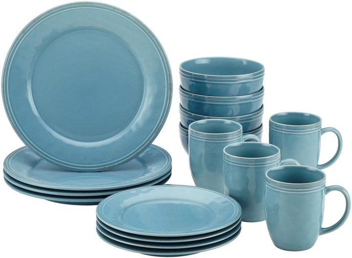 Rachael Ray Cucina Dinnerware Stoneware Set - Agave Blue