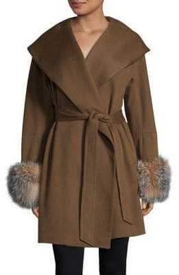 Sofia Cashmere Fox Fur Trimmed Portrait Collar Clutch Coat