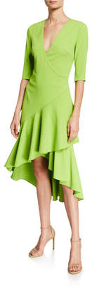 Badgley Mischka Surplice Elbow-Sleeve High-Low Flounce-Skirt Dress