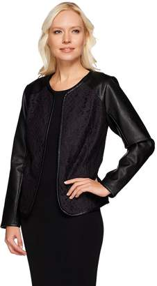 Joan Rivers Classics Collection Joan Rivers Open Front Lace Jacket w/ Faux Leather Sleeves