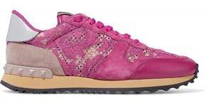 Valentino Leather-Trimmed Suede Mesh And Corded Lace Sneakers