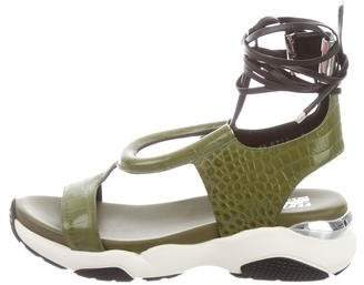 Salvatore Ferragamo Embossed Lace-Tie Sandals w/ Tags