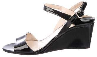 Prada Patent Leather Ankle-Strap Wedges
