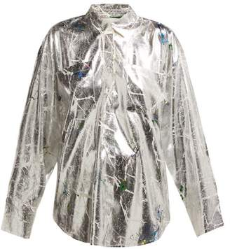 MSGM Floral Printed Cracked Lame Shirt - Womens - Silver