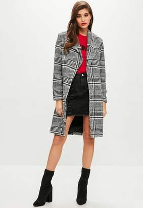 Missguided Black check formal coat