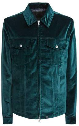 Pretty Green Zip Through Velvet Jacket