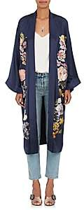 Alice Archer Women's Floral-Embroidered Silk Satin Kimono - Navy