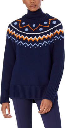 Tory Sport Performance Merino Fair Isle Cable-Knit Sweater