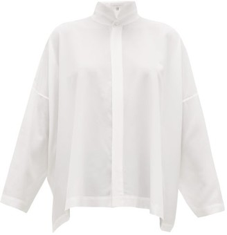 eskandar Mandarin Collar Silk Crepe De Chine Shirt - Womens - White