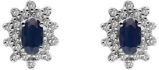 A B Davis 9ct Gold Oval Precious Stone and Cluster Diamond Stud Earrings
