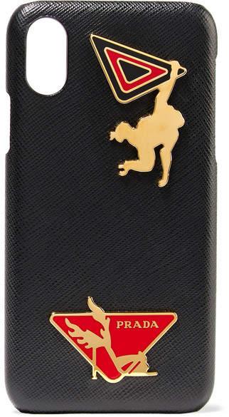 Prada - Embellished Textured-leather Iphone X Case - Black