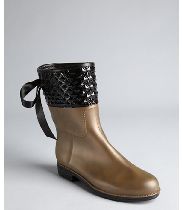 dav bronze pearl and black rubber quilted lace-up rain boots